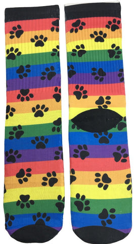 Rainbow Dog Paw Socks - Fun Crazy Cool Novelty Socks - Swaggy Socks
