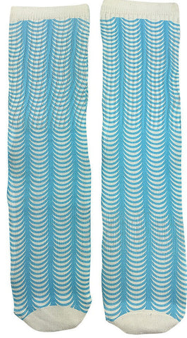 Blue Sonar Waves Design Socks - Fun Crazy Cool Novelty Socks - Swaggy Socks