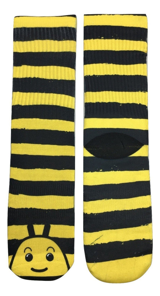 Striped Bumble Bee Socks - Fun Crazy Cool Novelty Socks - Swaggy Socks