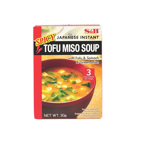 S&B Japanese Instant Spicy Tofu Miso Soup 3 Servings (30g)