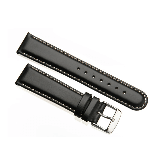 'Aerosport Mk2' Black Leather Watch Strap