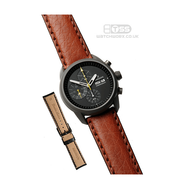 'Atlas' Leather Watch Strap On Junghans