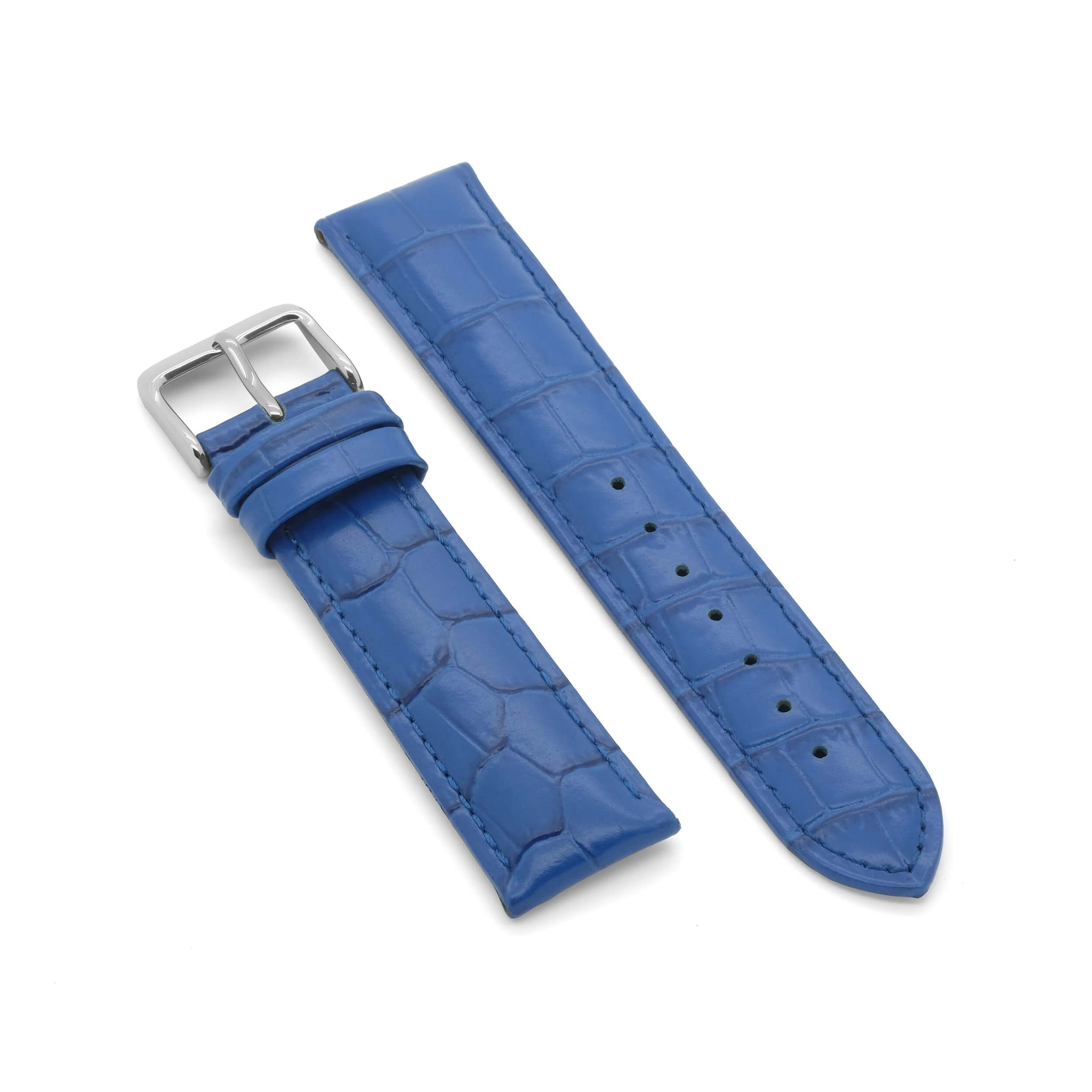 'Big Blue' Deep Padded Leather Watch Strap