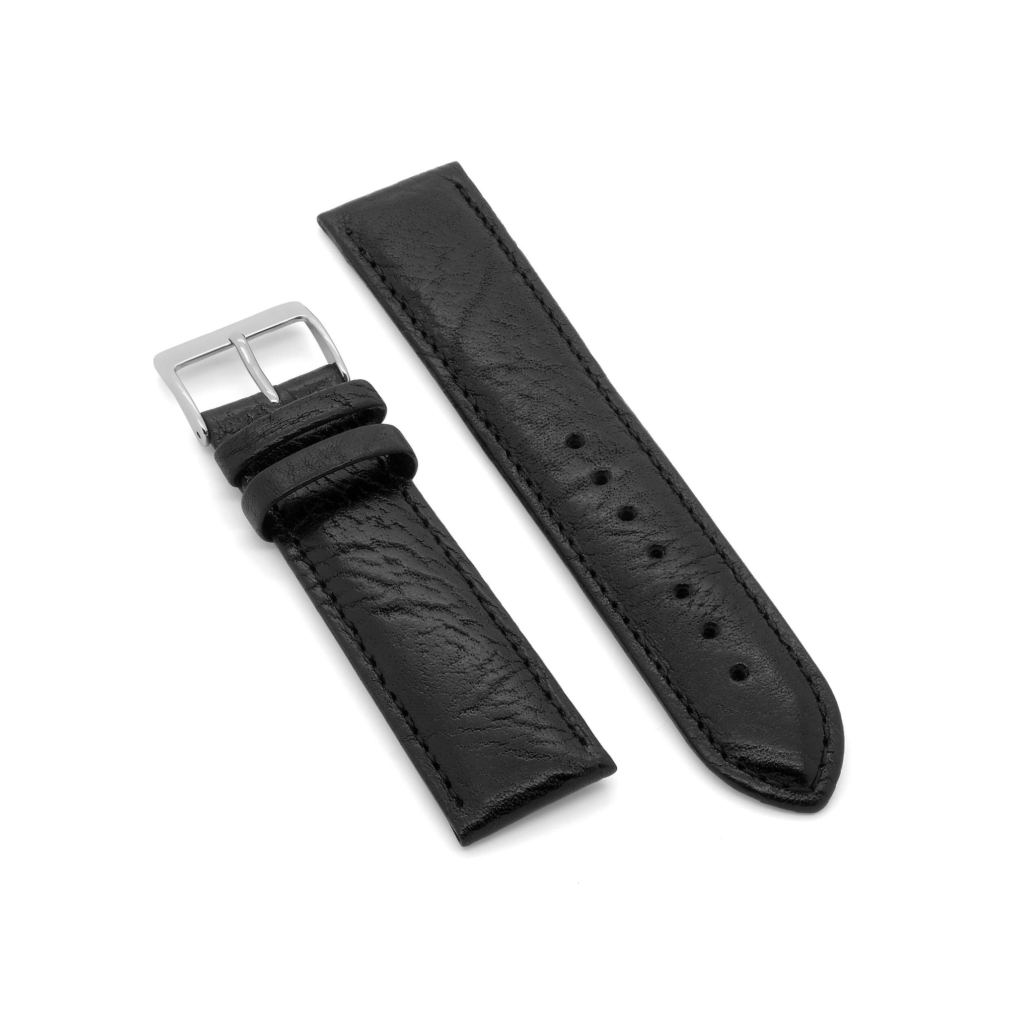 'Padded Bison' Genuine Leather Watch Strap (Black)