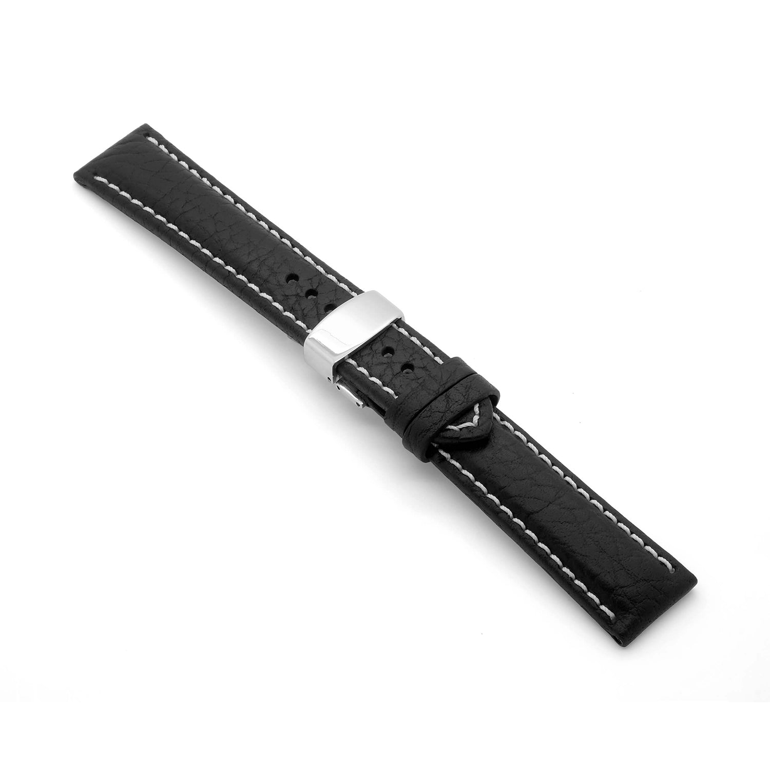 'Brooklands-DC' Leather Watch Strap With Deployment Clasp (Black)