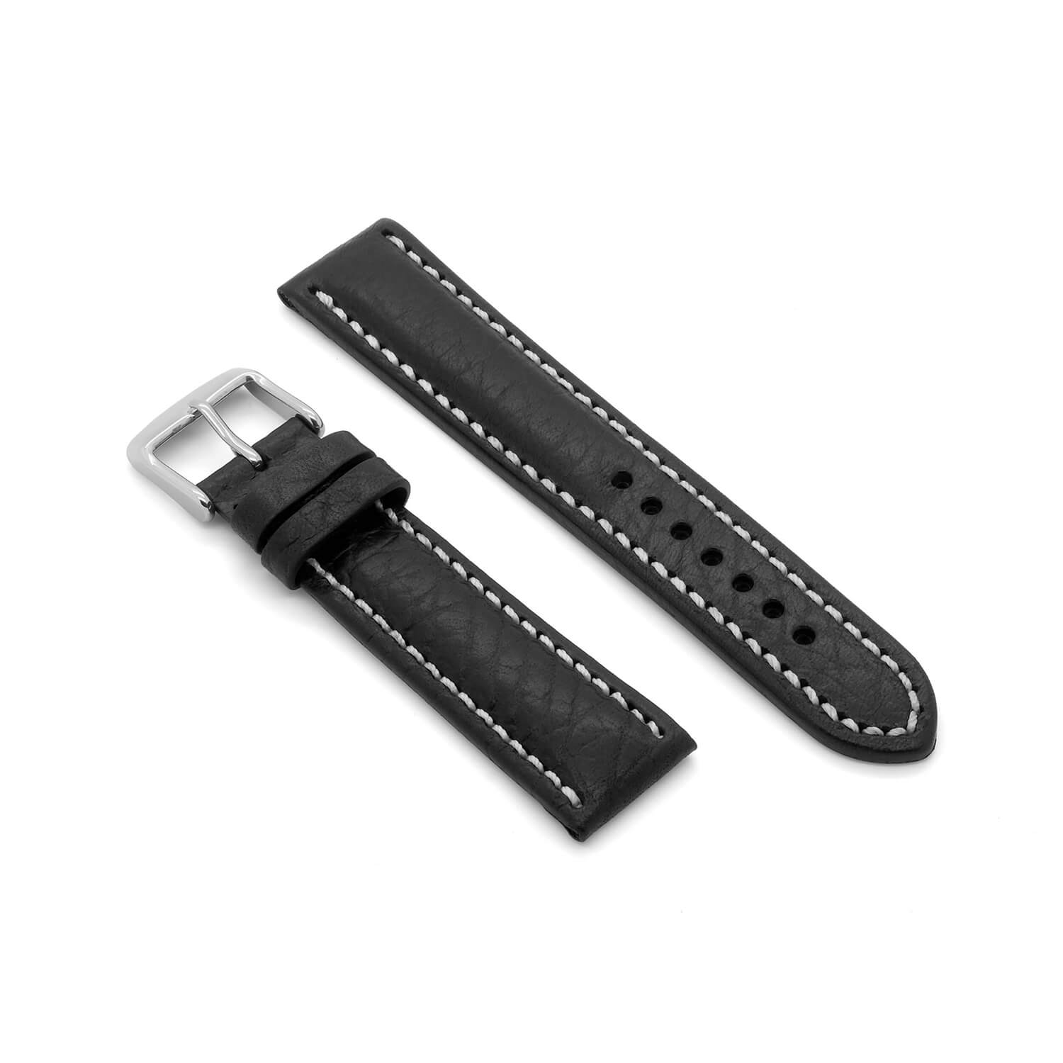 'Brooklands MKII' Deep Padded Leather Watch Strap (Black)