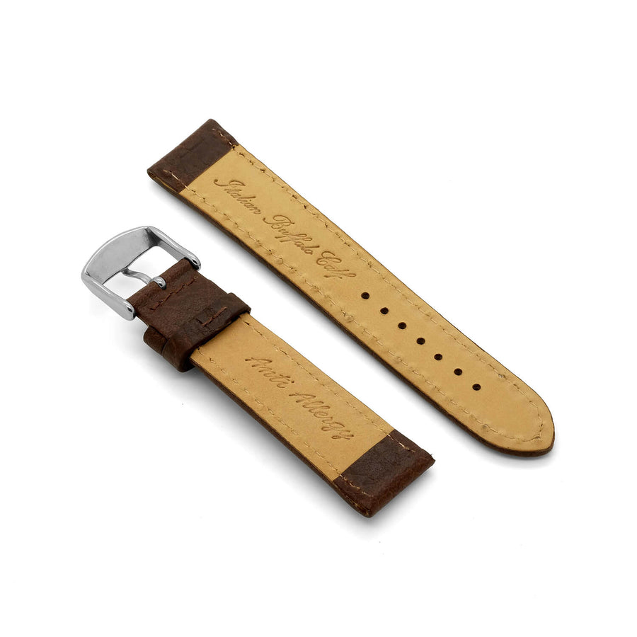'Brooklands MKII' Deep Padded Leather Watch Strap (Brown)