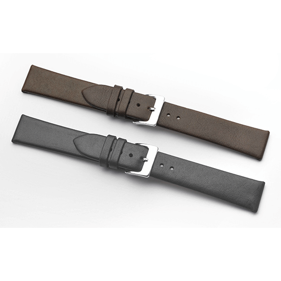 'Classic Calf' Leather Watch Strap In Black & Brown