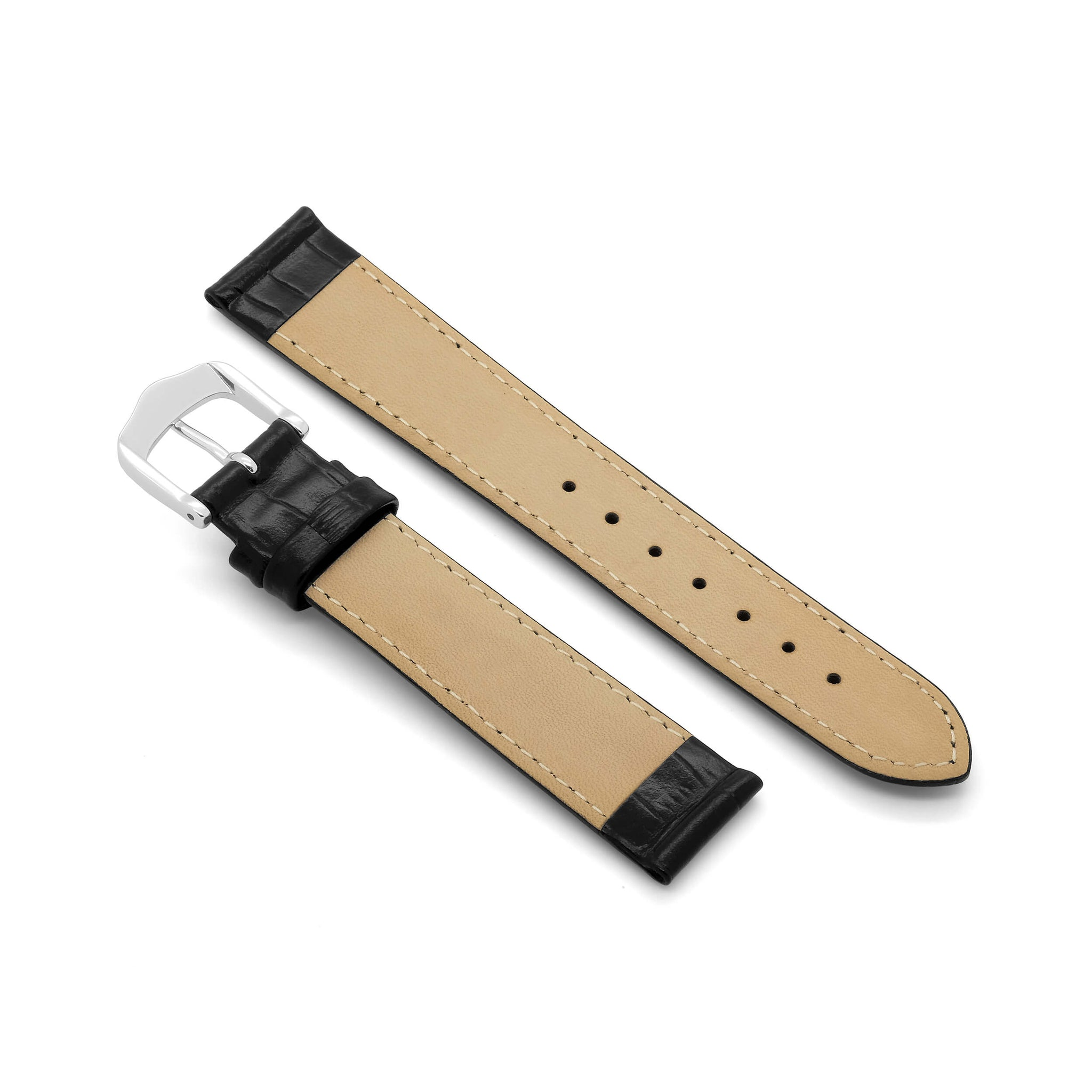 'Classic Crocodile' Grain Leather Watch Strap (Black)