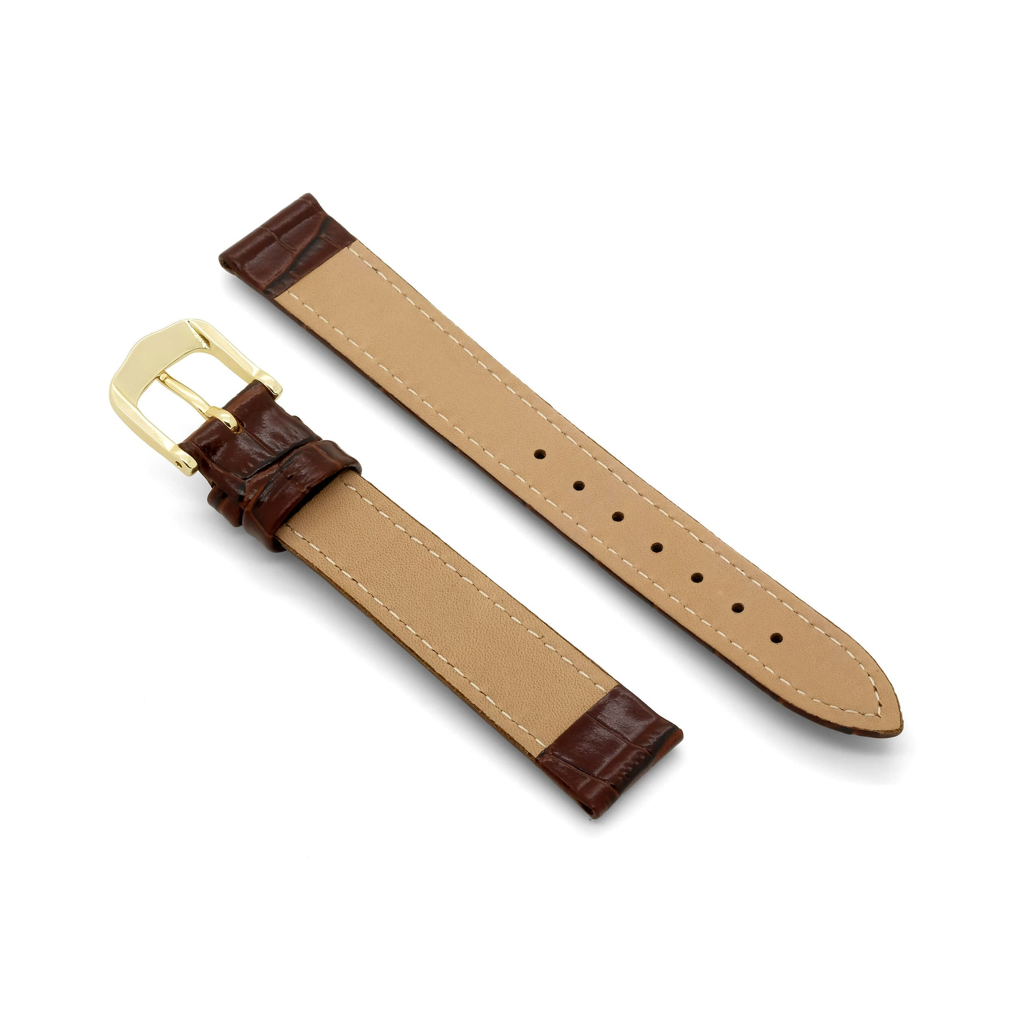 'Classic Crocodile' Grain Leather Watch Strap (Brown)