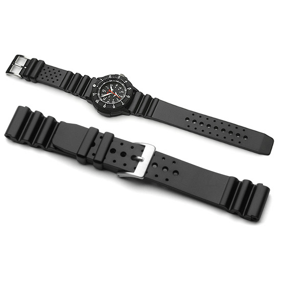 'Diver 1' Black Rubber Watch Strap