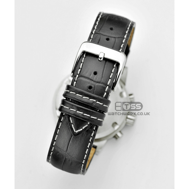'Explorer' Alligator Grain Black Leather Watch Strap