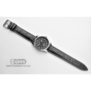 'Explorer' Matt Alligator Padded Leather Watch Strap