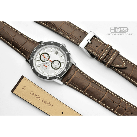 'Explorer' Brown Alligator Grain Leather Watch Strap