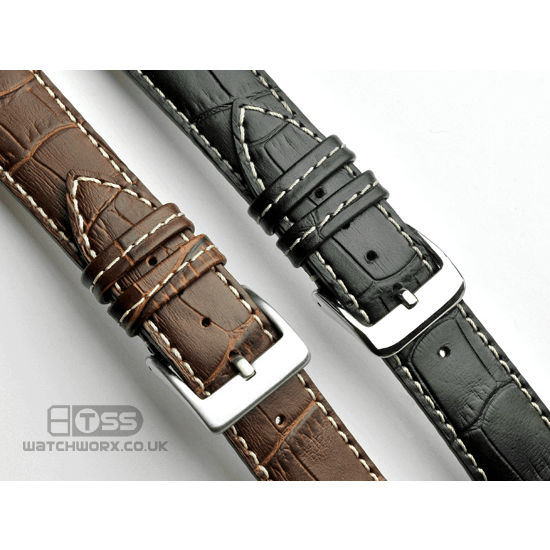 'Explorer' Alligator Grain Leather Watch Strap In Black & Brown