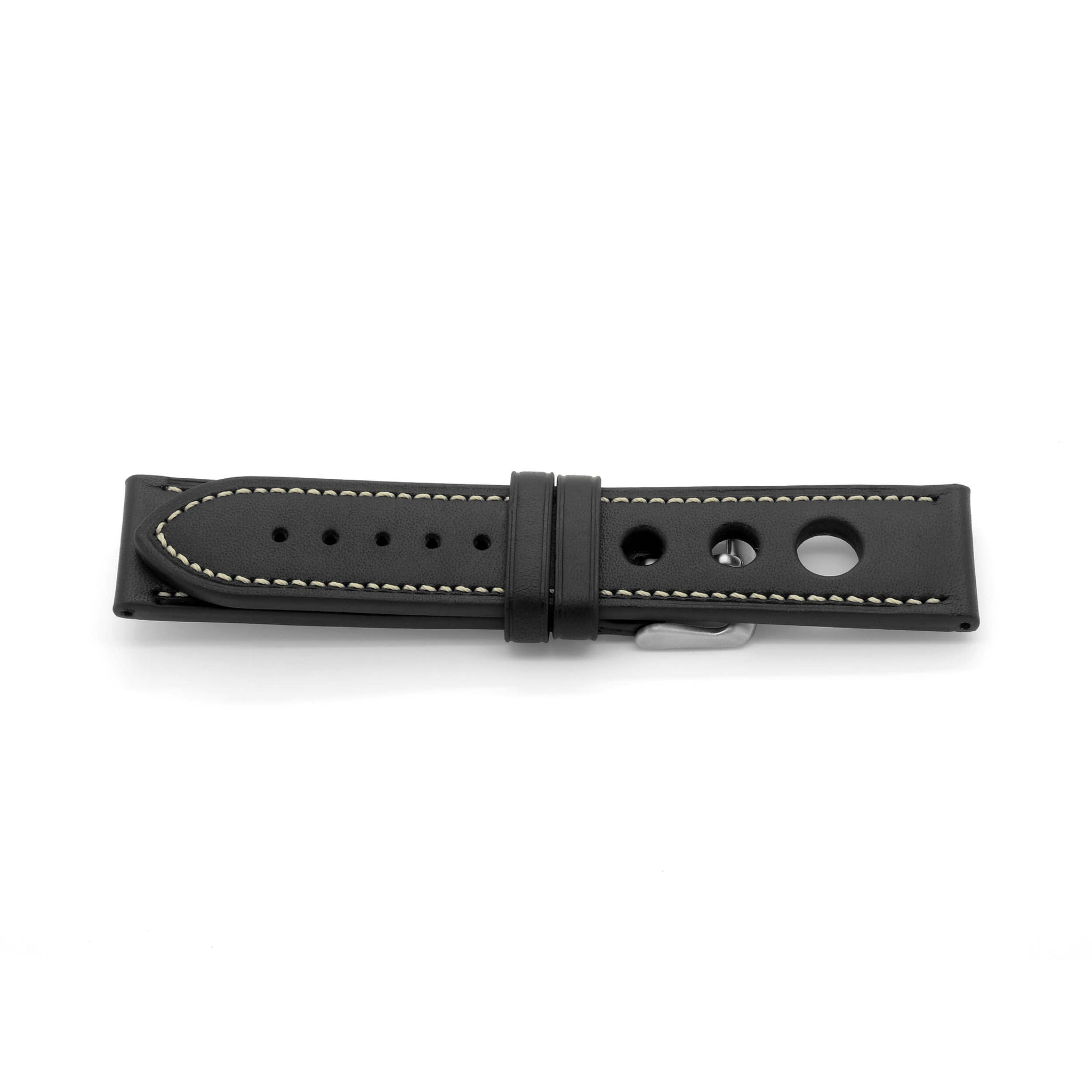 'Grand Prix CS' Rally Style Leather Watch Strap (Black)