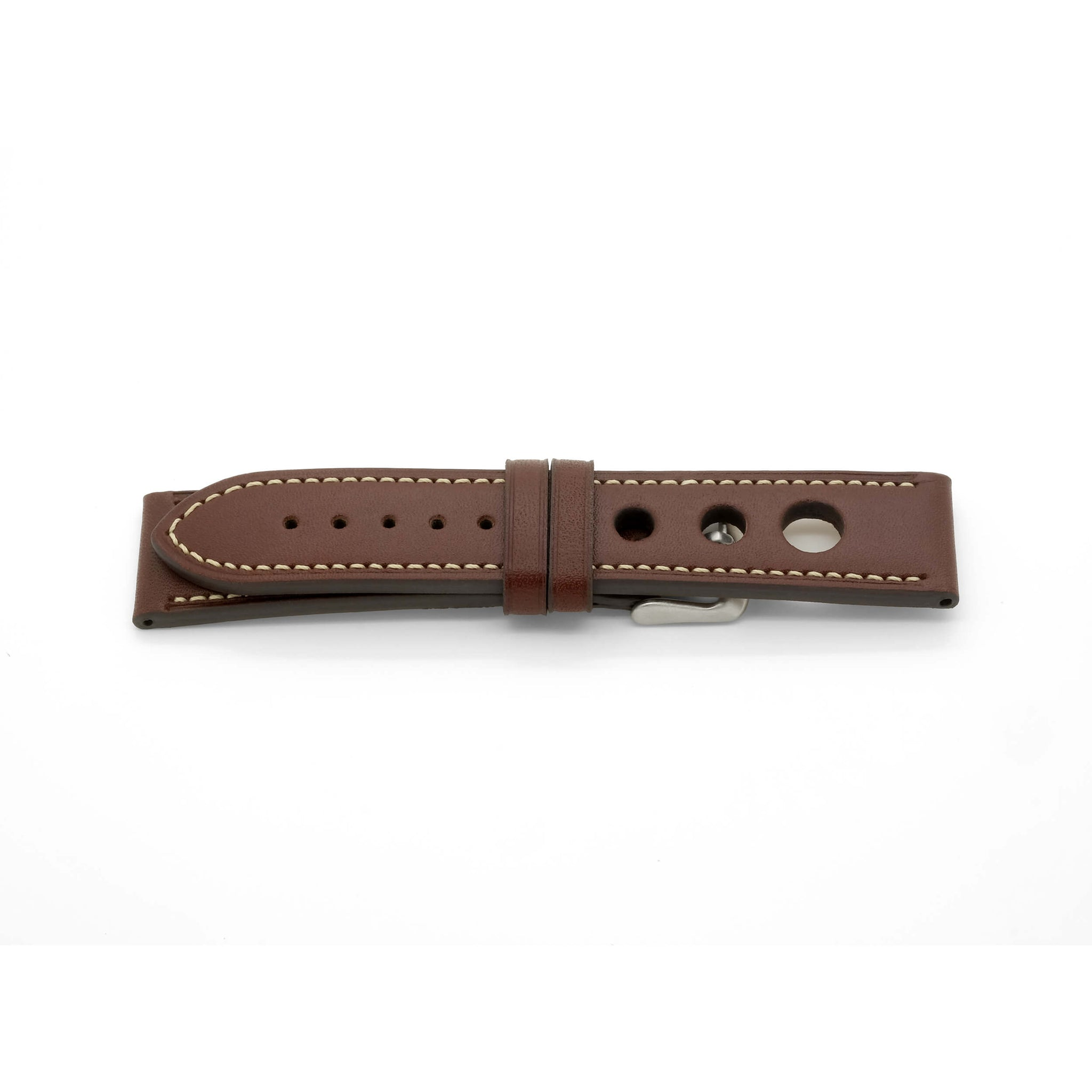 'Grand Prix CS' Rally Style Leather Watch Strap (Brown)
