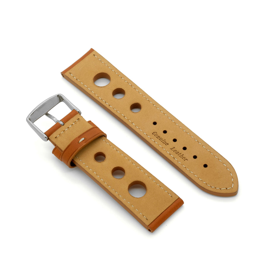 'Grand Prix CS' Rally Style Leather Watch Strap (Tan)