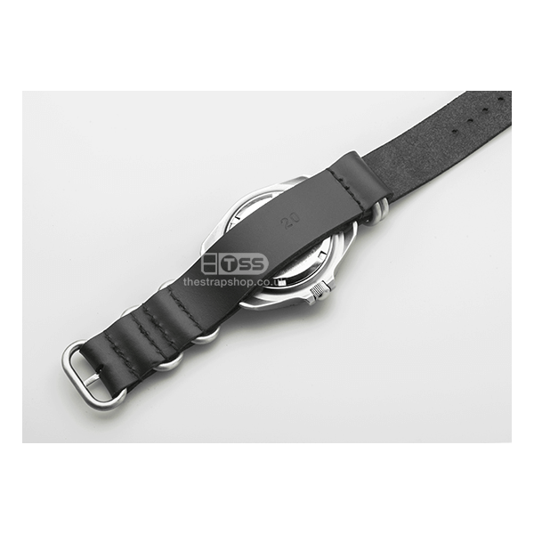 Leather ZULU Watch Strap With Matte Stainless Steel Hardware (Black)