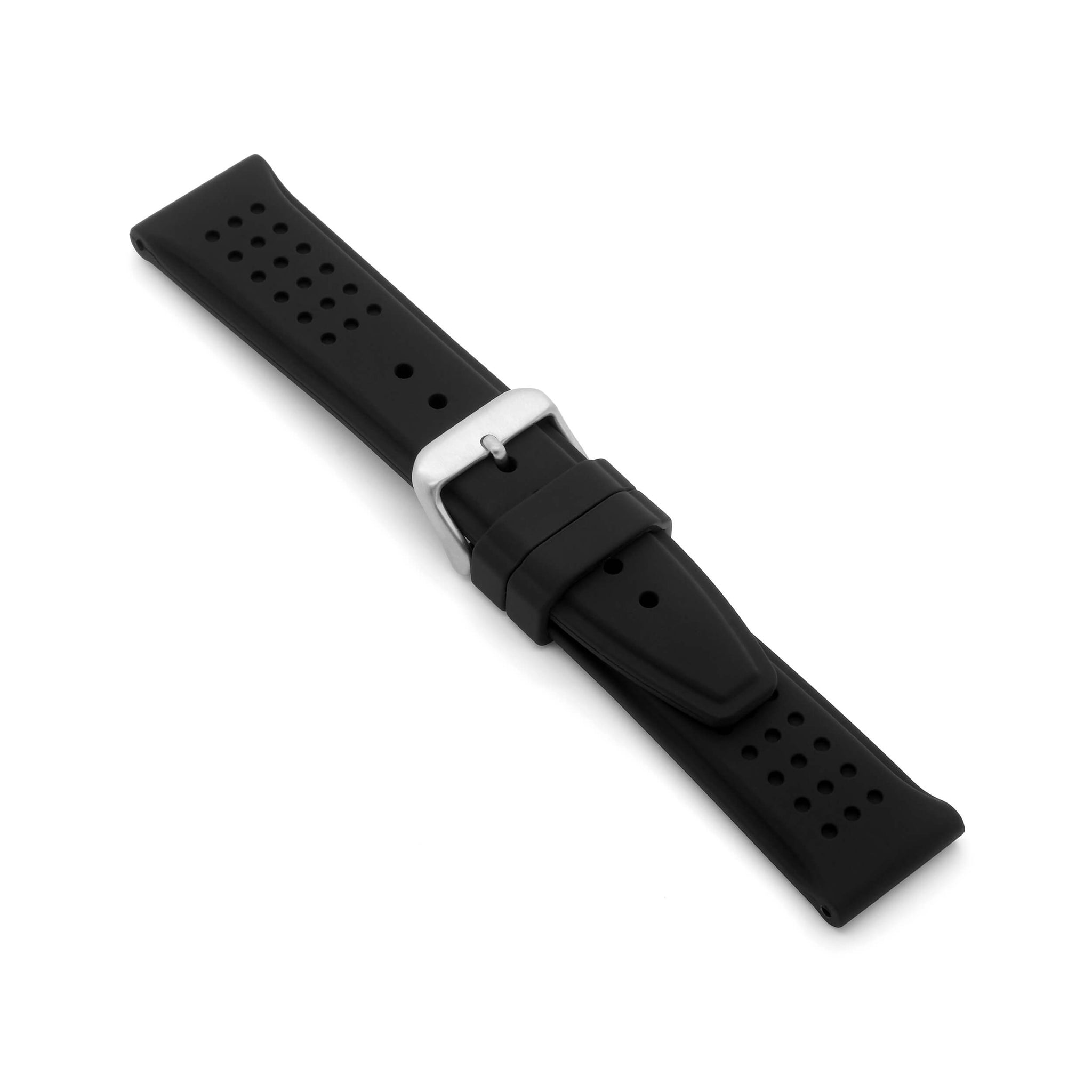'Le Mans' Rubber Watch Strap (Black)