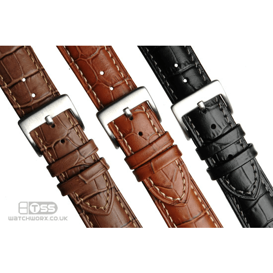 'M16' Alligator Grain Leather Watch Strap Colours