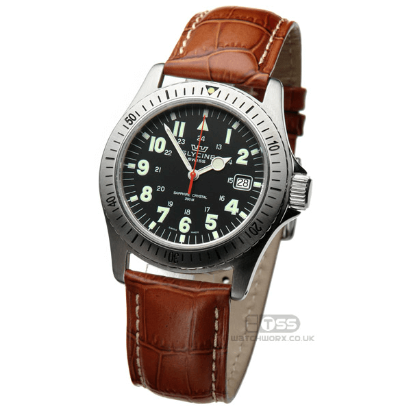 'M16' Alligator Grain Leather Watch Strap On Glycine
