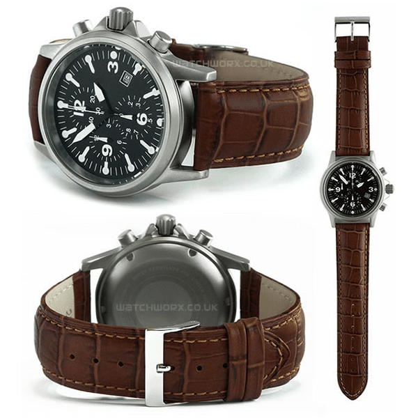 'M16' Alligator Grain Leather Watch Strap In Brown