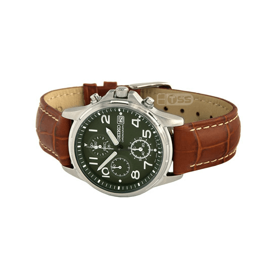 'M16' Alligator Grain Leather Watch Strap On Seiko