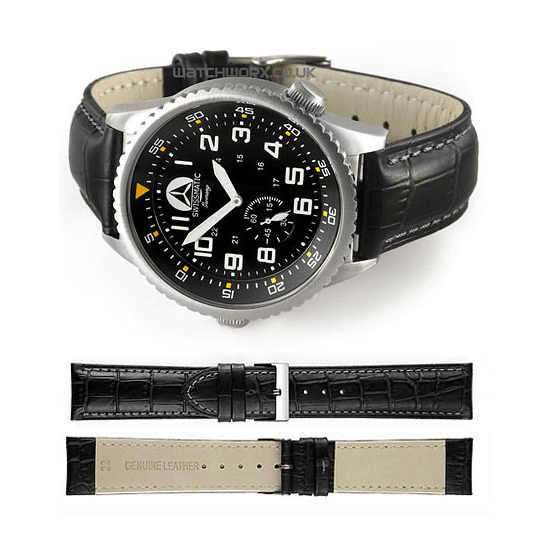 'M16' Alligator Grain Leather Watch Strap In Black