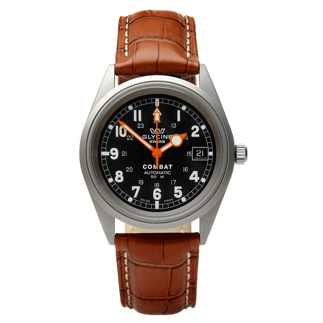 'M16' Alligator Grain Leather Watch In Tan