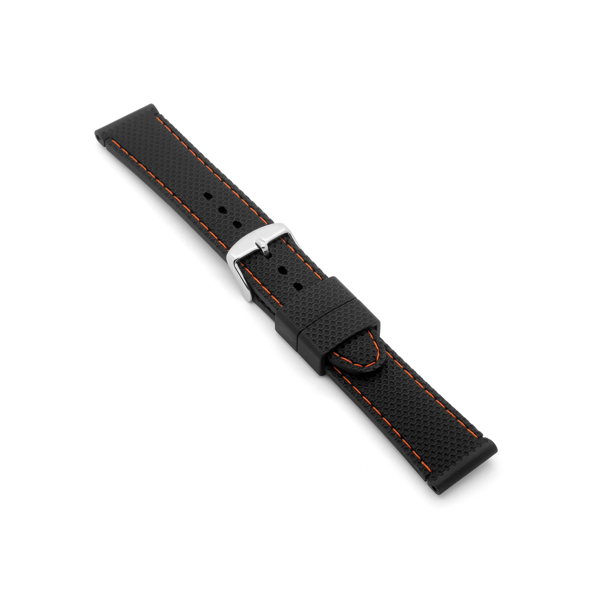 'Monaco' Rubber Watch Strap (Black/Orange)