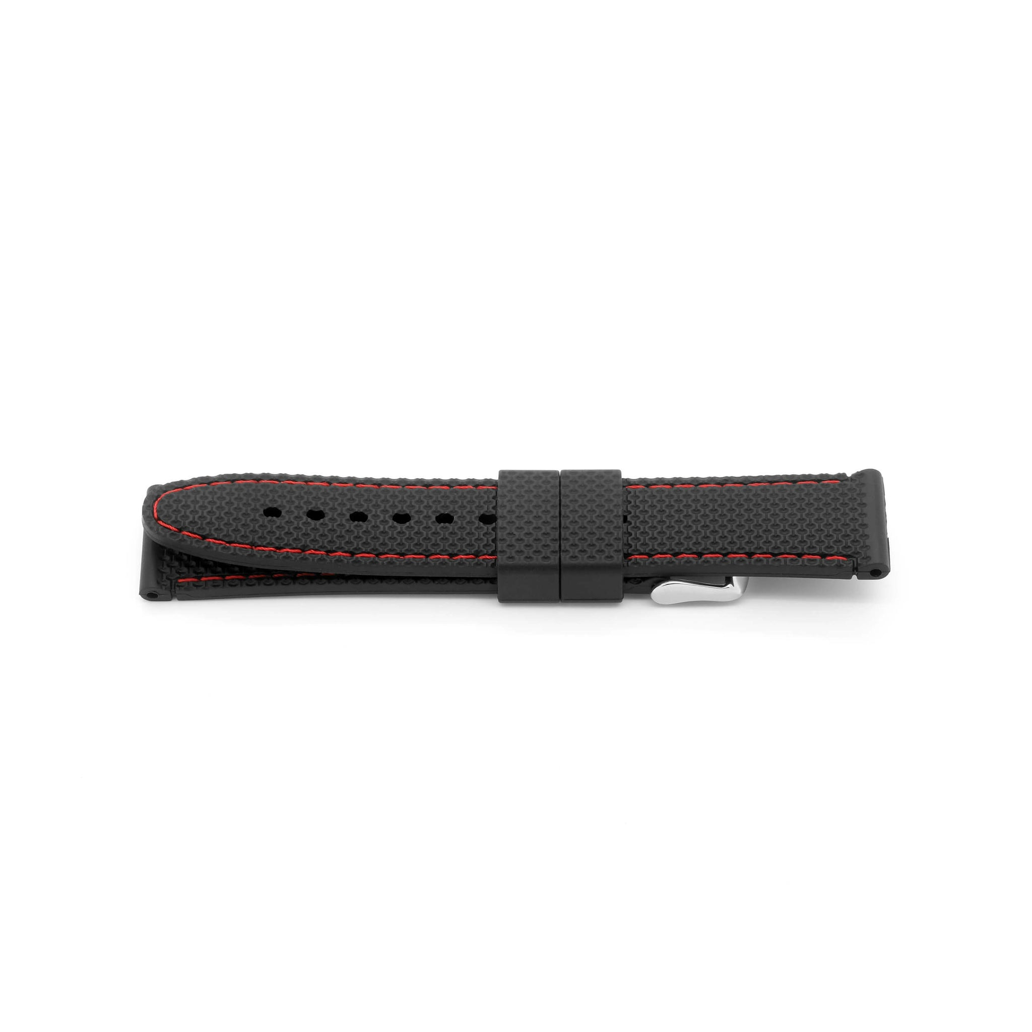 'Monaco' Rubber Watch Strap (Black/Red)