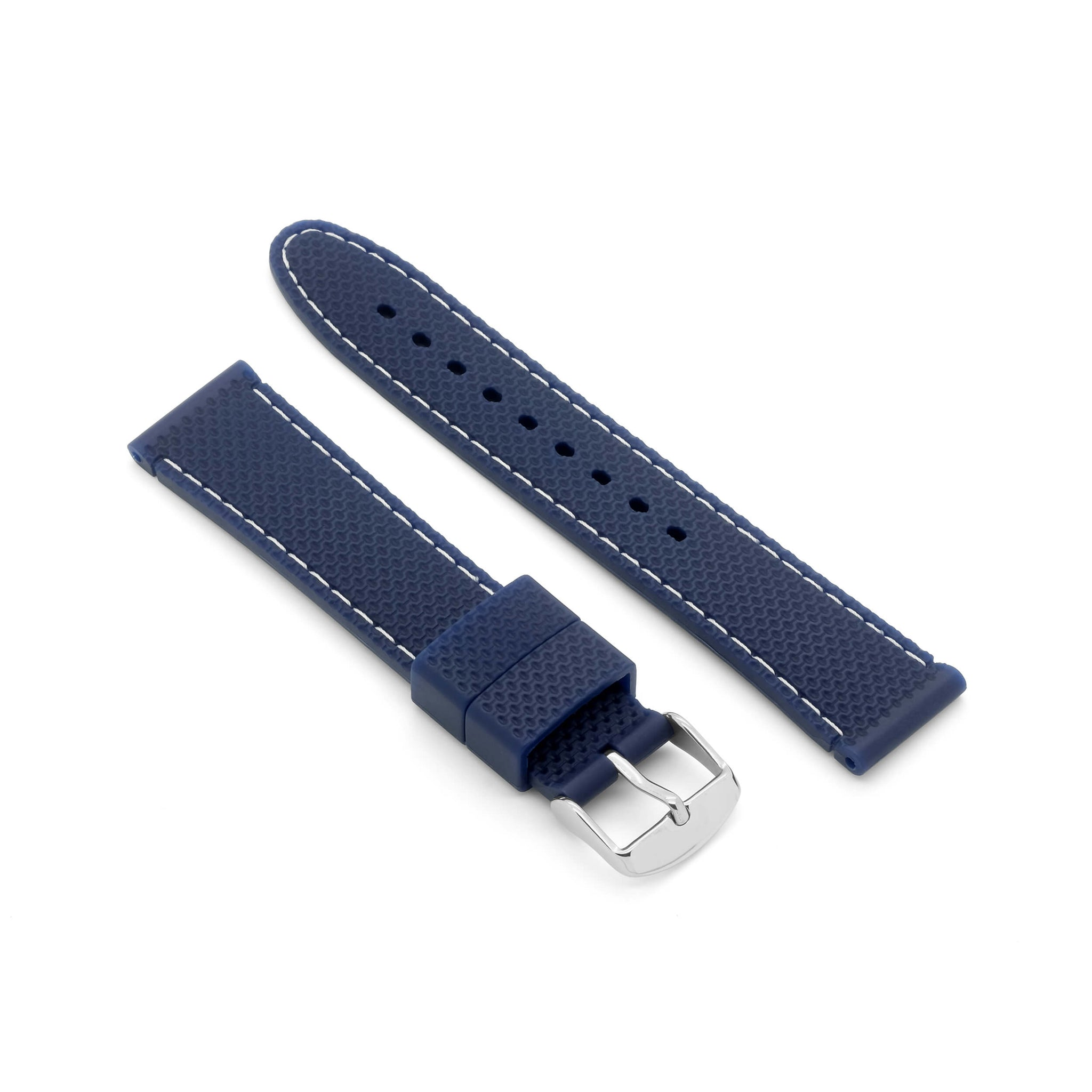'Monaco' Rubber Watch Strap (Blue/White)