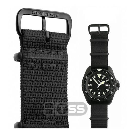'Nato G10' Nylon Military Watch Strap In Black