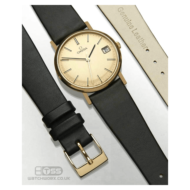 'OE Calf' Open Ended Watch Strap On Gold Omega