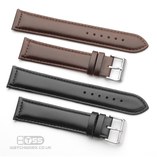 'Oiled Leather' Watch Strap In Black & Brown