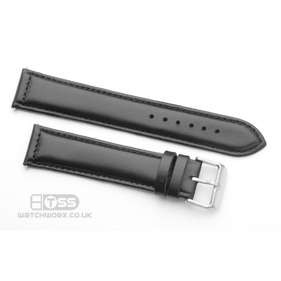 'Oiled Leather' Watch Strap In Black