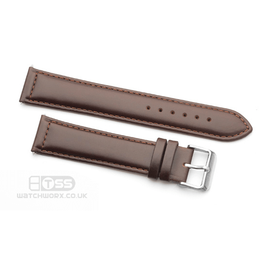 'Oiled Leather' Watch Strap In Brown