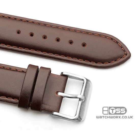 'Oiled Leather XL' Extra Long Leather Watch Strap Buckle