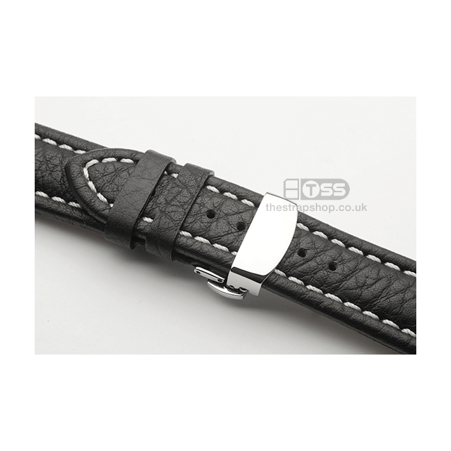 'Push Button Clasp' In Polished Silver On Black Watch Strap