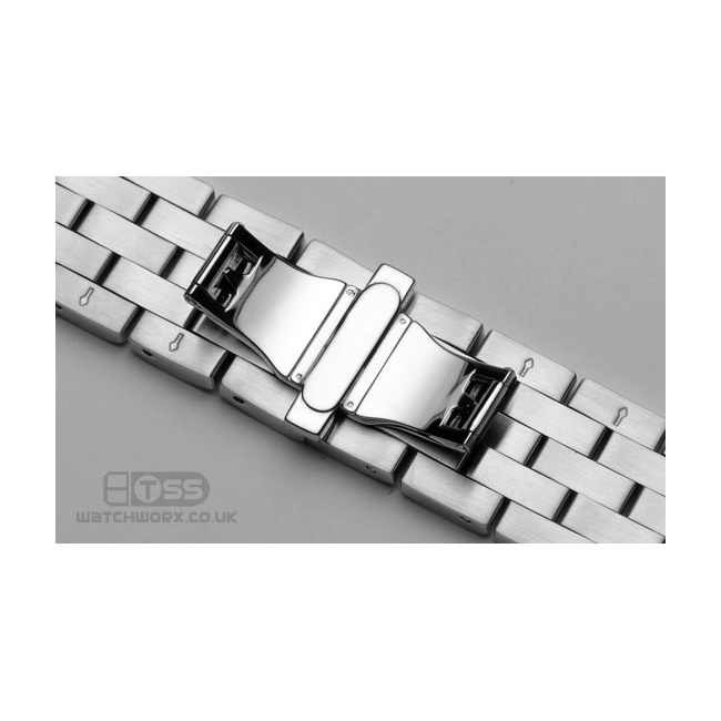 'T34' Solid Link Stainless Steel Watch Bracelet Clasp