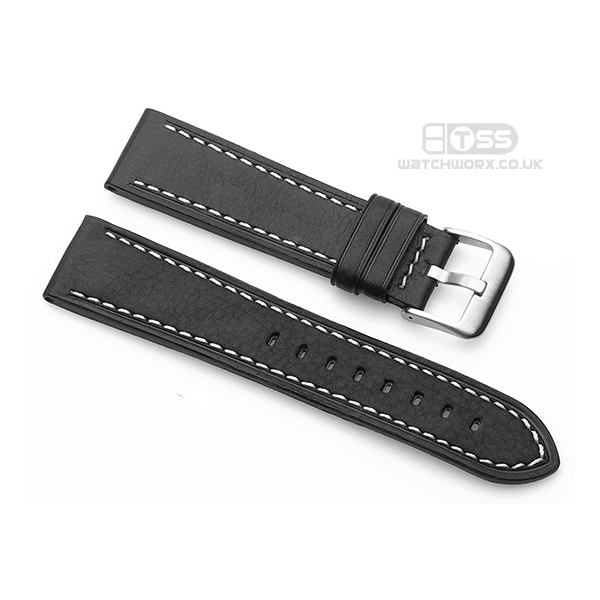 'Titan CS' Leather Watch Strap In Black