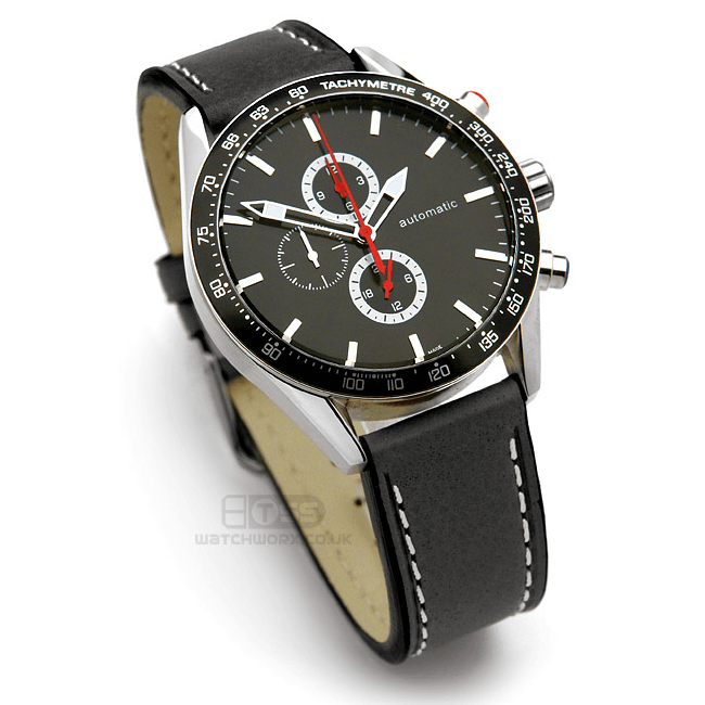'Titan CS' Leather Watch Strap On Chronograph
