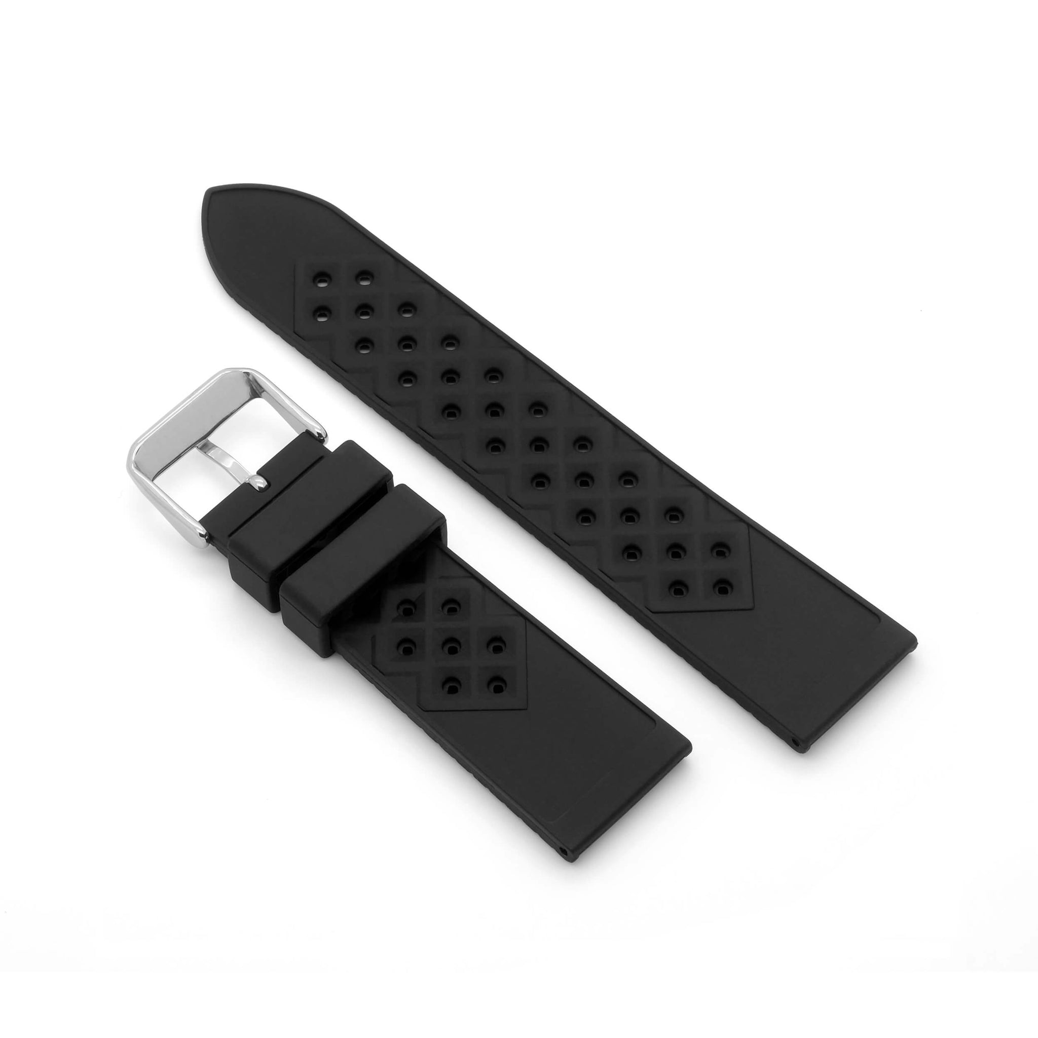 'Tropic' Rolex Style Rubber Watch Strap (Black)