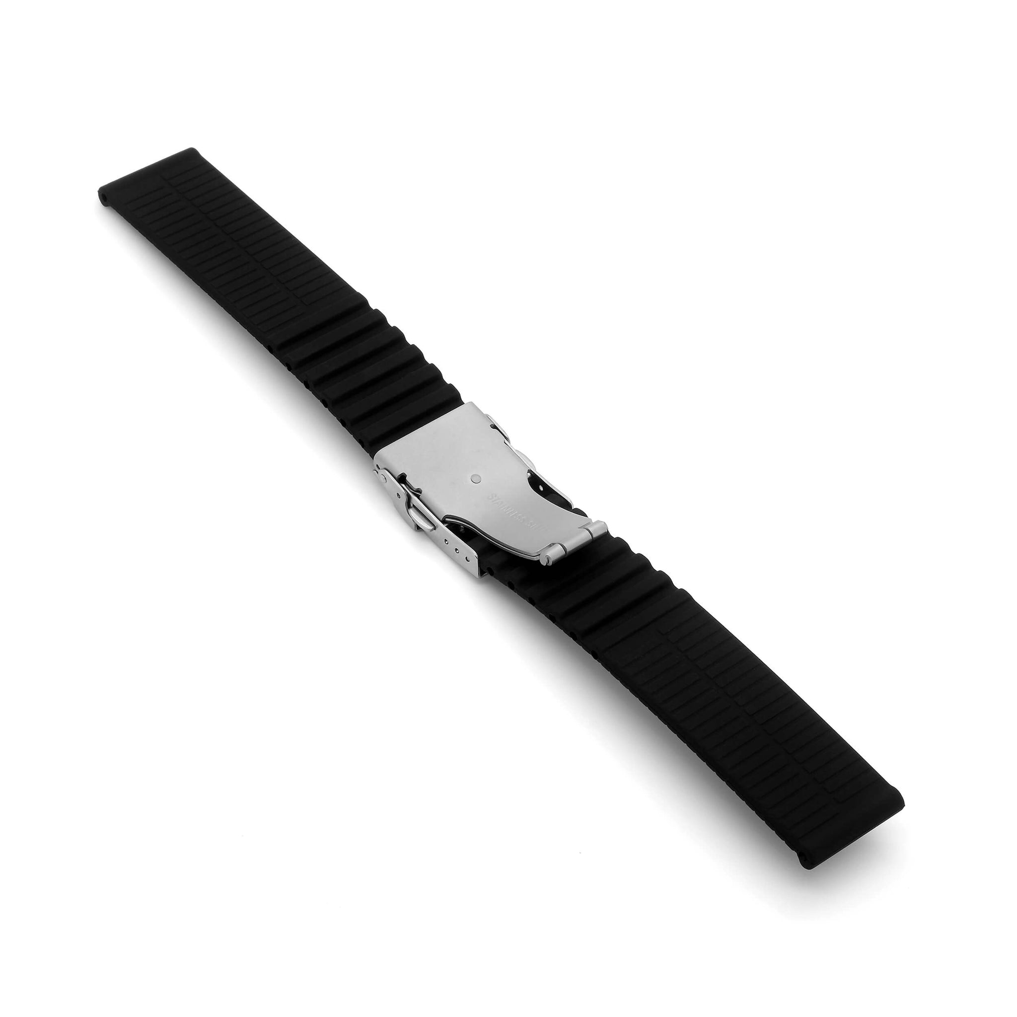 'TT Mk2' Rubber Deployment Watch Strap (Black)