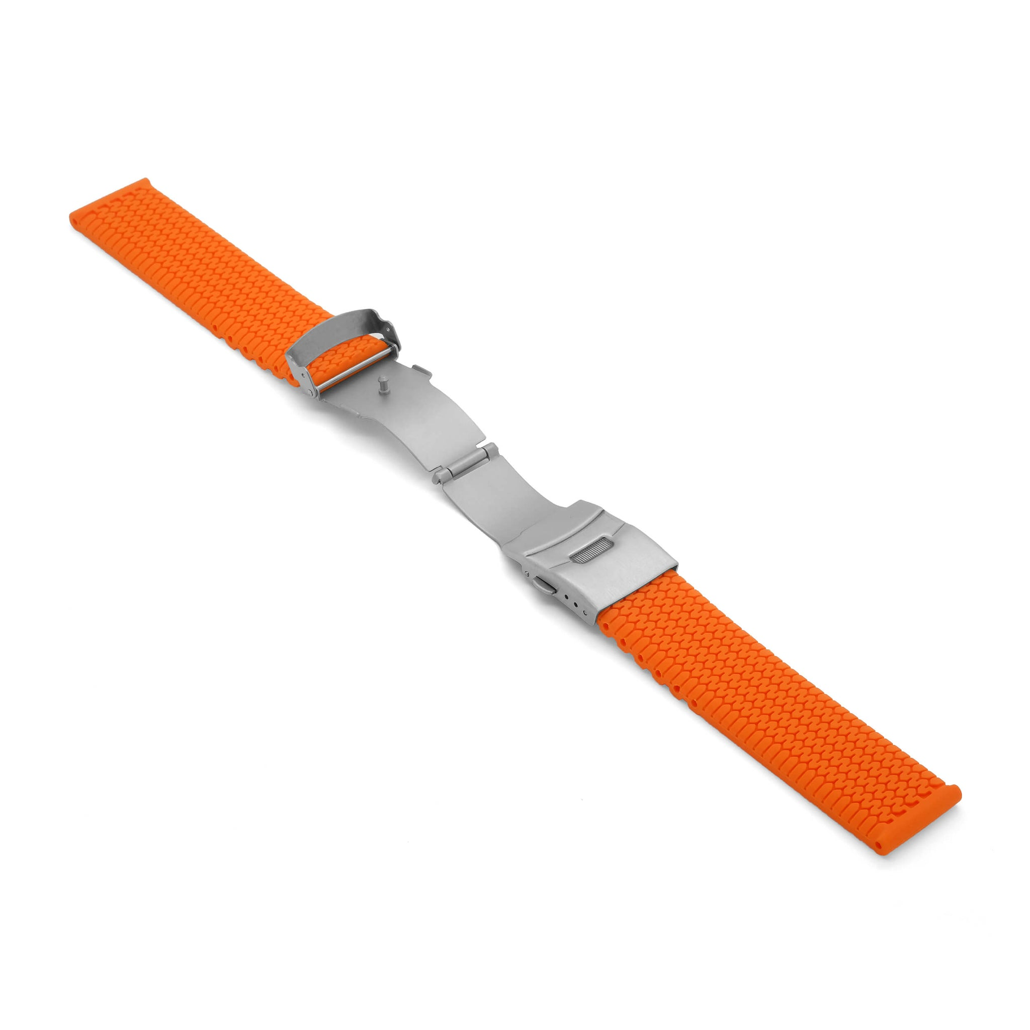 'TT Mk2' Rubber Deployment Watch Strap (Orange)