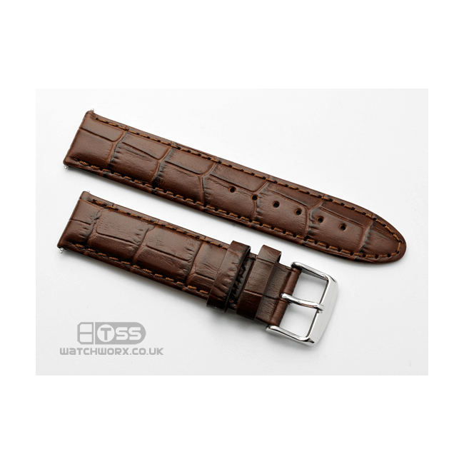 'Vienna' Crocodile Grain Leather Watch Strap In Brown