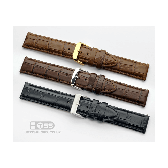 'Vienna XL' Crocodile Grain Leather Watch Strap Colours
