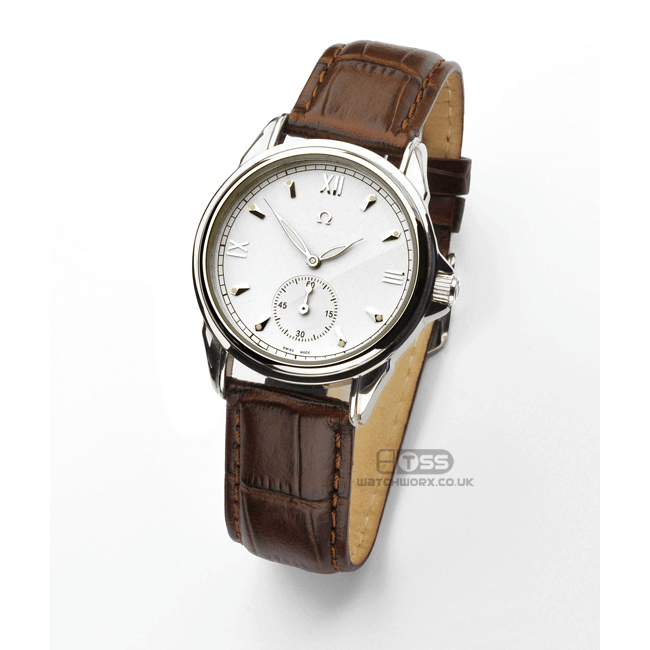 'Vienna' Crocodile Grain Leather Watch Strap On Omega