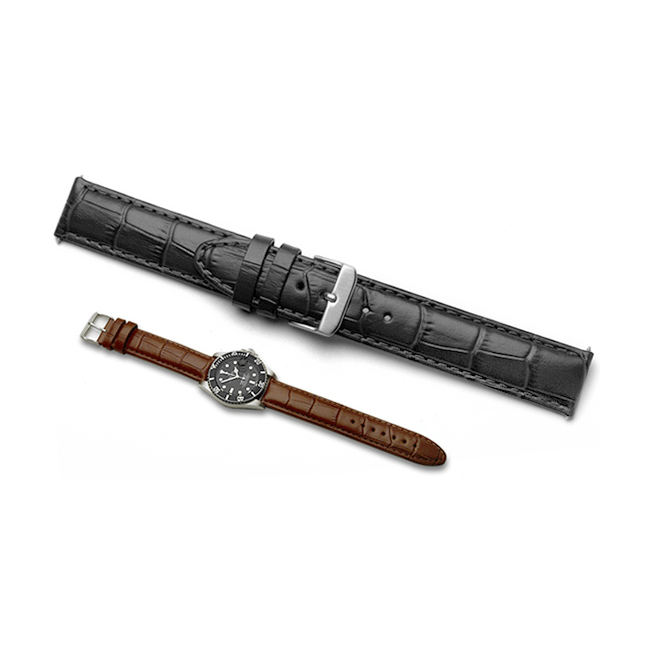 'Vienna XL' Crocodile Grain Leather Watch Strap In Black & Brown